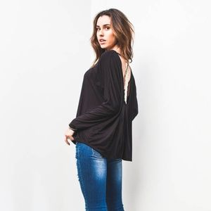 Soft, Flowy Black Top w/ Lace Back Detail